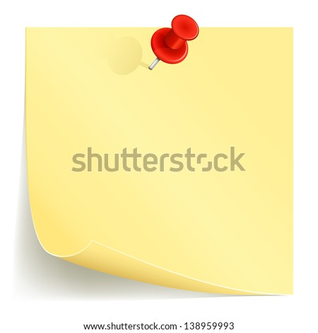 Note paper and red pin on white background, illustration. - stock photo