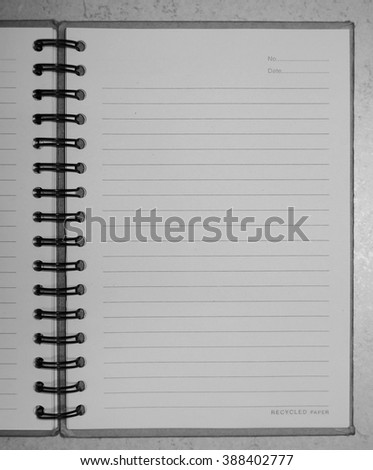 Note paper in black and white tone. - stock photo