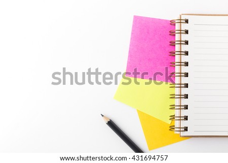 note paper ,pencil and note book on white paper background - stock photo