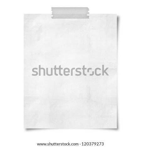 note paper taped on white background - stock photo