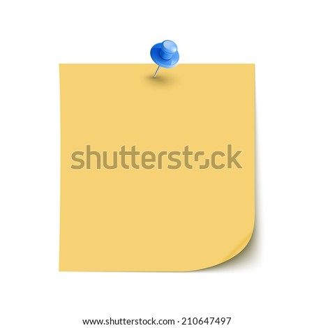 Note Paper with pin on white background isolated  - stock photo
