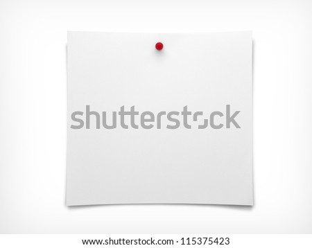 Note paper with push red pin - stock photo