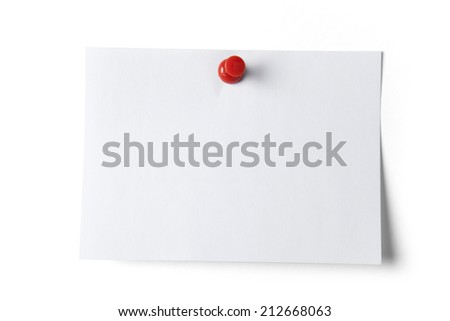 Note paper with red pin, isolated on white. Clipping path included - stock photo