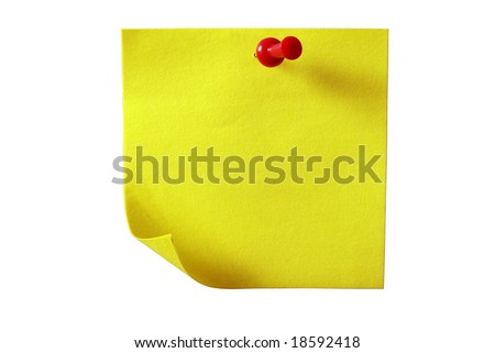 Note paper. Yellow sticky paper. Isolated on white with clipping path. - stock photo