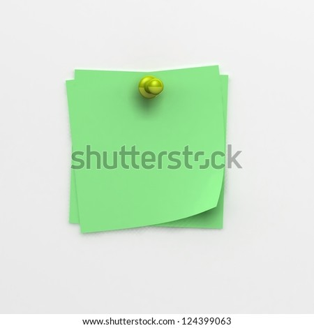 note papers and green pin - stock photo