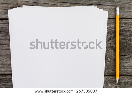 Note papper and pencil still life on the desk - stock photo