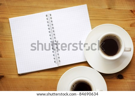 note with coffee - stock photo
