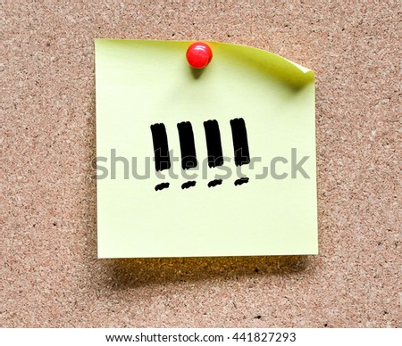 note with exclamation marks inscription. Sticky note with exclamation marks inscription pinned on a cork bulletin board - stock photo
