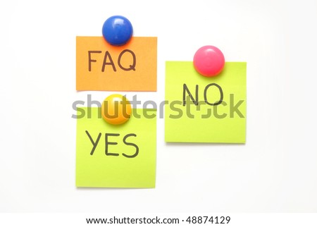 note with faq mark isolated on white background - stock photo