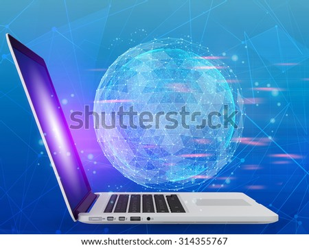 Notebook and abstract map of the global telecommunications network. - stock photo