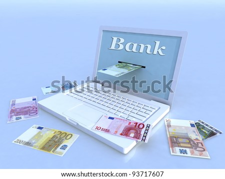 notebook and euro banknotes on blue background, 3d illustration - stock photo