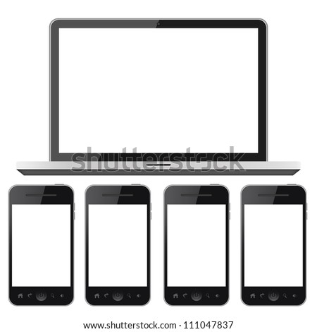 Notebook and mobile phones isolated on white background - stock photo