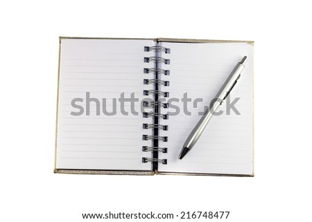 Notebook and Pen, Notebook and pen on white background. - stock photo