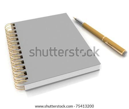 Notebook and pen on a white background - stock photo