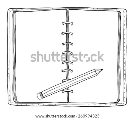 notebook and  pencil vintage cute hand drawn - stock photo