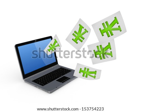 Notebook and symbol of yen.Isolated on white.3d rendered. - stock photo