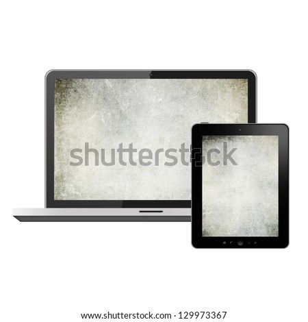 Notebook and tablet pc - stock photo