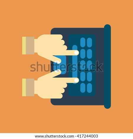 Notebook computer icon. Hands of a man on the laptop keyboard. Illustration - stock photo