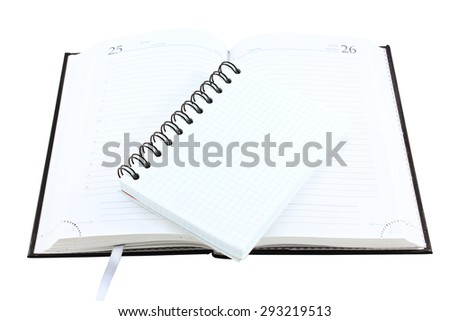 Notebook diary for records and notes isolated on a white background - stock photo