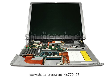 Notebook disassembled. Close-up. Isolated on a white background. - stock photo