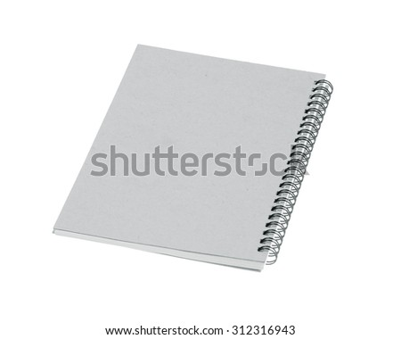 notebook front cover isolated on white background.Black and white - stock photo
