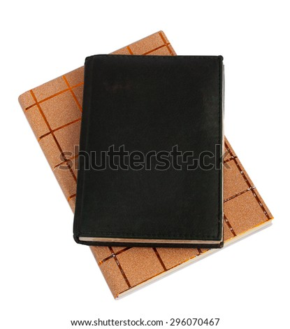 Notebook in black leather cover isolated on white background - stock photo