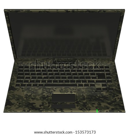 Notebook in camouflage colorize. isolated. white background. 3d - stock photo