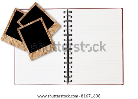Notebook isolated on the white with photo frame. - stock photo