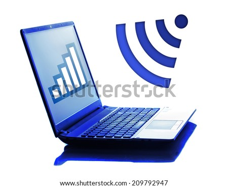 Notebook isolated on white with wi-fi symbol - stock photo