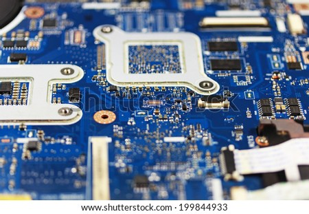 Notebook motherboard close up - stock photo