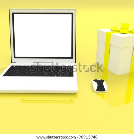 notebook on yellow background - stock photo