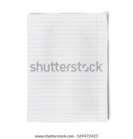 Notebook paper isolated on white background. Raster version illustration. - stock photo