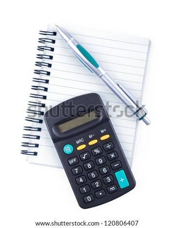 notebook, pen and calculator on white - stock photo