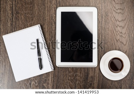 notebook, pen, coffee and tablet, workplace businessman - stock photo