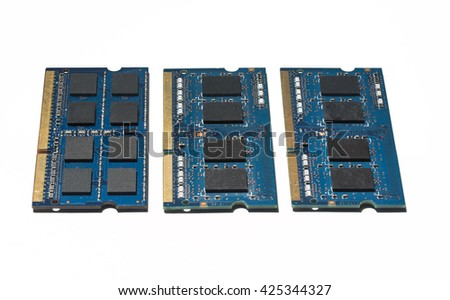 Notebook RAM Memory Cards isolated on white - stock photo