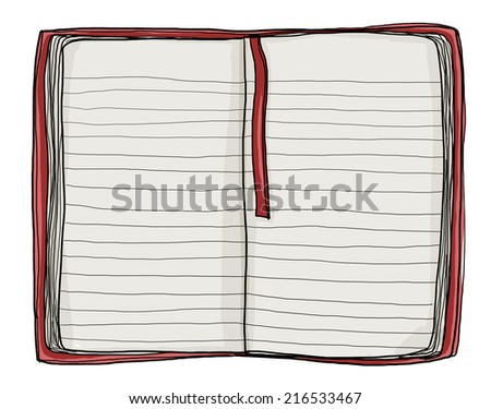 notebook red cover painting vintage - stock photo