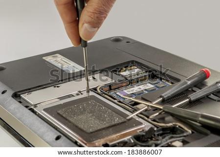 notebook repair - stock photo