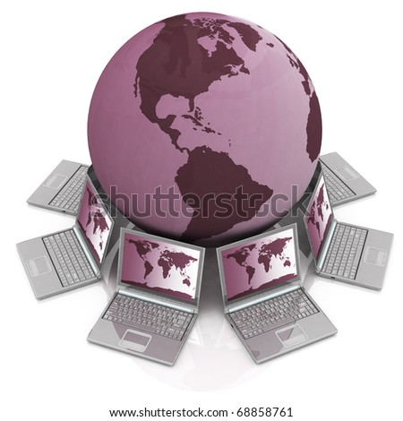 notebook round a globe on a white background - stock photo