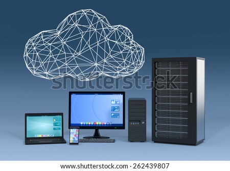 notebook, smartphone, desktop pc and computer server cabinet, with a cloud made with the technique of wireframe modeling, blue background (3d render) - stock photo