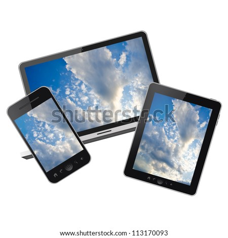 Notebook, tablet pc and Mobile phone isolated on white background - stock photo