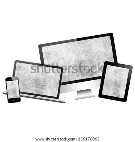 Notebook, tablet pc, mobile phone and computer isolated on white background - stock photo