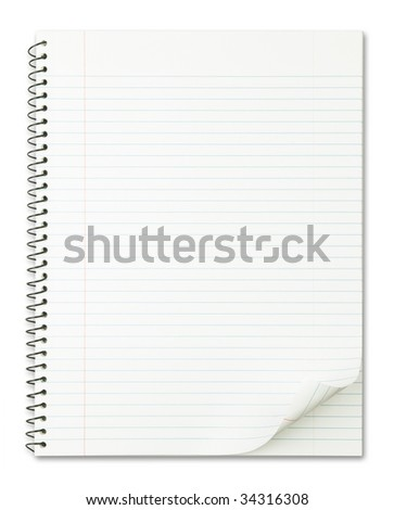 Notebook with nice page curl isolated on pure white. - stock photo