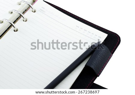 Notebook with pencil isolate on white - stock photo