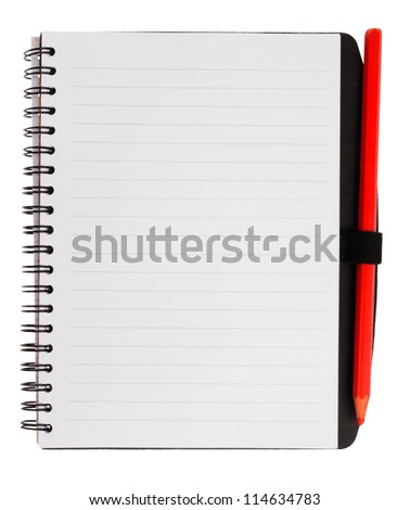 Notebook with red pencil, isolated on background - stock photo