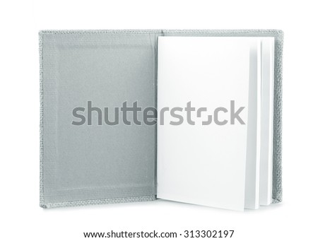notebook with space isolated on white background.Black and white. - stock photo