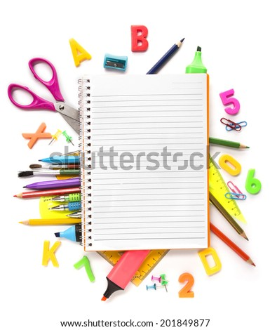 Notebook with stationary objects supplies in the background - stock photo