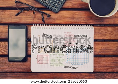 Notebook with text inside Franchise on table with coffee, mobile phone and glasses.  - stock photo