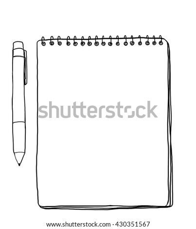 Notebooks and pen, vintage Brown illustration cute line art  - stock photo