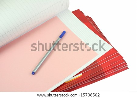 notebooks and pencil on white - stock photo