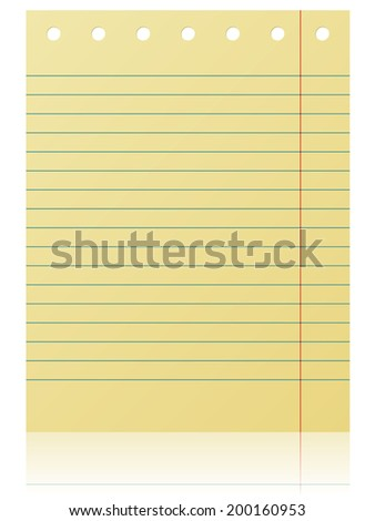 Notepad lined yellow page isolated on white background. - stock photo